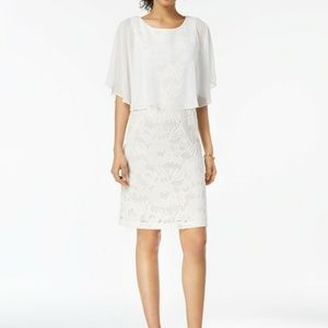 Connected Lace Capelet Chiffon Dress